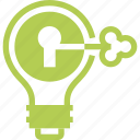bulb, idea, imagination, intellectual, key, light, property