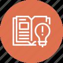 book, bulb, education, idea, knowledge, learn, light