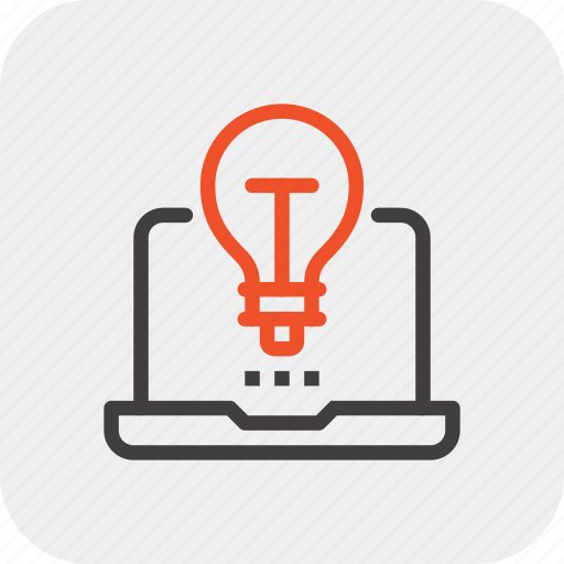 bulb, energy, idea, imagination, laptop, light, power icon