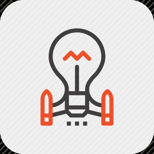 bulb, idea, imagination, launch, light, rocket, startup icon
