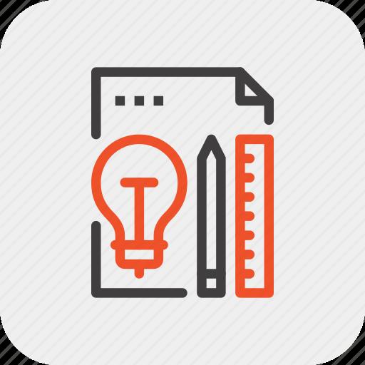 bulb, design, idea, imagination, inspiration, light, plan icon