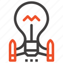 bulb, idea, imagination, launch, light, rocket, startup icon