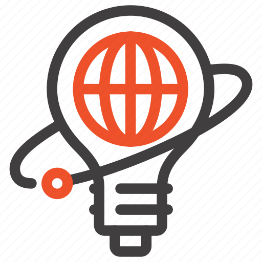 big, bulb, globe, idea, imagination, light, world icon