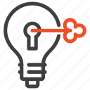 bulb, idea, imagination, intellectual, key, light, property icon