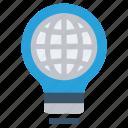 bulb, energy, globe, idea, light, light bulb, world icon