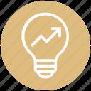 arrow, bulb, energy, graph, idea, light, light bulb icon