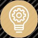 bulb, energy, gear, idea, light, light bulb, setting icon