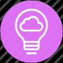 bulb, cloud, energy, idea, light, light bulb, server icon