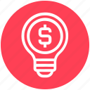 bulb, dollar, energy, idea, light, light bulb, money icon