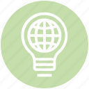 bulb, energy, globe, idea, light, light bulb, world icon