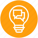 bulb, chatting, comments, energy, idea, light, light bulb icon