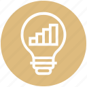 bulb, energy, graph, idea, light, light bulb, transaction icon