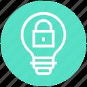 bulb, energy, idea, light, light bulb, locked, security icon