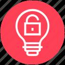 bulb, energy, idea, light, light bulb, security, unlocked icon