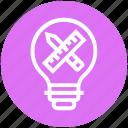 bulb, draft, energy, idea, light, light bulb, pencil & ruler