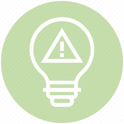 bulb, danger, energy, idea, light, light bulb, warning icon