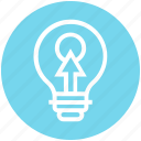 arrow, bulb, click, energy, idea, light, light bulb icon