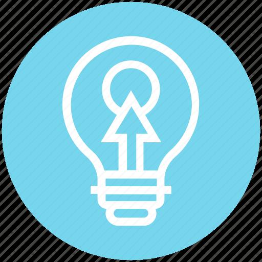 arrow, bulb, click, energy, idea, light, light bulb icon