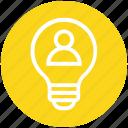 bulb, energy, idea, light, light bulb, person, user icon