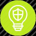 bulb, energy, idea, light, light bulb, security, shield icon