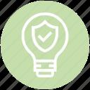access, bulb, energy, idea, light, light bulb, shield