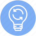 bulb, energy, idea, light, light bulb, loading, sync icon