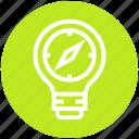 bulb, compass, energy, idea, light, light bulb, safari icon