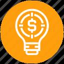 bulb, dollar, energy, idea, light, light bulb, target icon