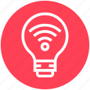 bulb, energy, idea, light, light bulb, signals, wifi icon