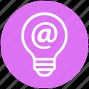 at sign, bulb, energy, idea, internet, light, light bulb icon