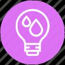 bulb, drops, energy, idea, light, light bulb, water icon