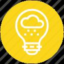 bulb, cloud, energy, idea, light, light bulb, rain