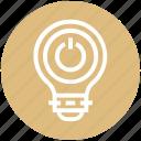 bulb, energy, idea, light, light bulb, on off, power