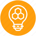 bees, bulb, energy, honeycomb, idea, light, light bulb icon