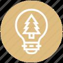bulb, energy, idea, light, light bulb, nature, tree icon