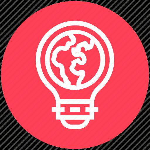 bulb, earth, energy, idea, light, light bulb, world icon