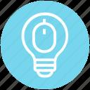 bulb, device, energy, idea, light, light bulb, mouse icon
