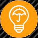 bulb, energy, idea, insurance, light, light bulb, umbrella icon