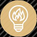 bulb, energy, fire, flame, idea, light, light bulb
