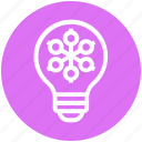 bulb, energy, idea, light, light bulb, snowflake, winter icon