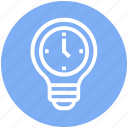 bulb, clock, energy, idea, light, light bulb, watch icon