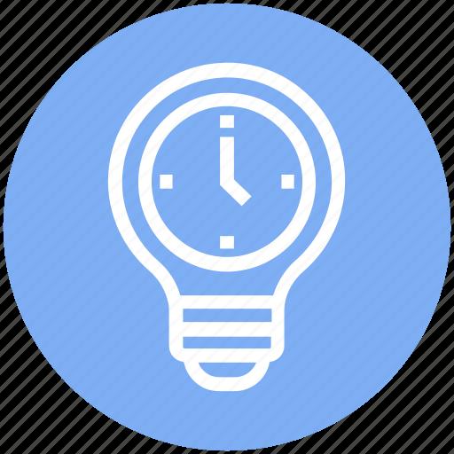 bulb, clock, energy, idea, light, light bulb, watch icon
