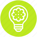 bulb, energy, flower, idea, light, light bulb, plant icon