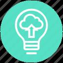 bulb, cloud, energy, idea, light, light bulb, unloading icon
