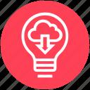 bulb, cloud, downloading, energy, idea, light, light bulb icon