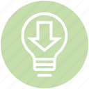 arrow, bulb, download, energy, idea, light, light bulb icon