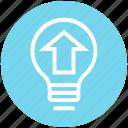 arrow, bulb, energy, idea, light, light bulb, upload icon