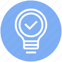 accept, access, bulb, energy, idea, light, light bulb icon