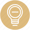 bulb, energy, idea, light, light bulb, minus, remove icon