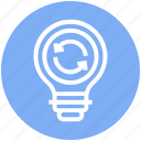 bulb, energy, idea, light, light bulb, loading, sync icon